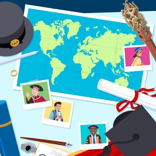 Een preview plaatje van de omslag van Graduating around the Globe